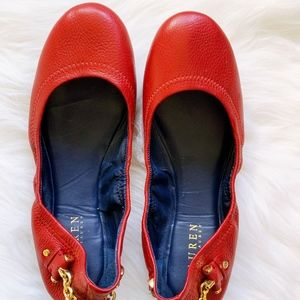 Lauren Ralph Lauren Red Leather Flats Gold Chain 9
